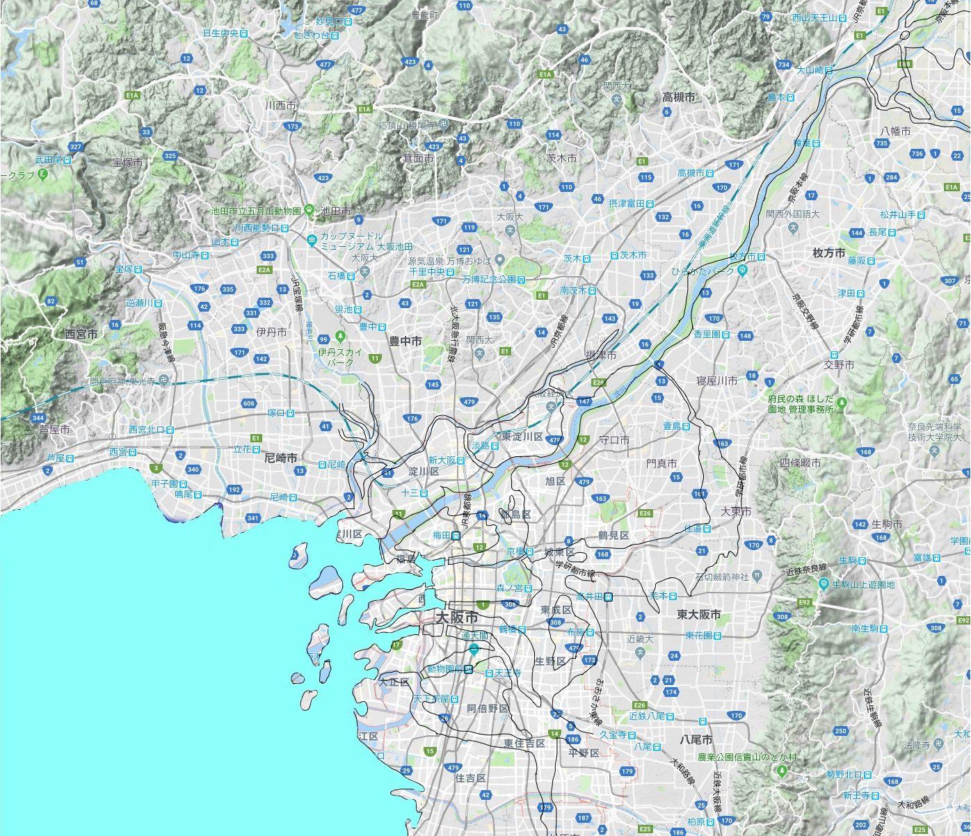 大阪市の地図 色を塗る