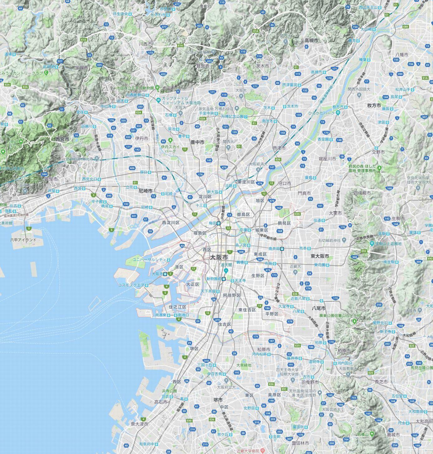 大阪市の地図
