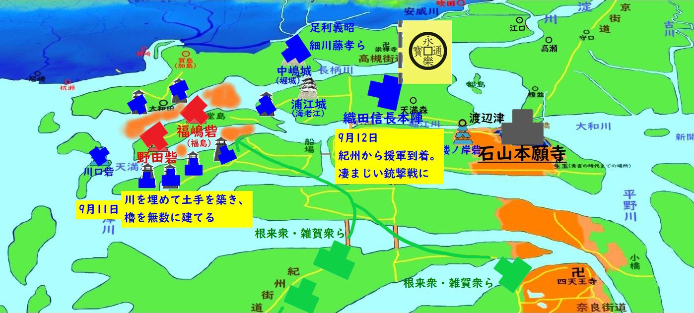 紀州から鉄砲集団参着。野田福島砦に総攻撃