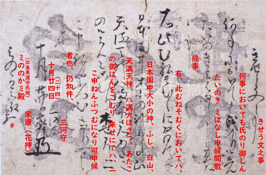 天正十年十月二十四日徳川家康発給起請文に釈文を入れてみた