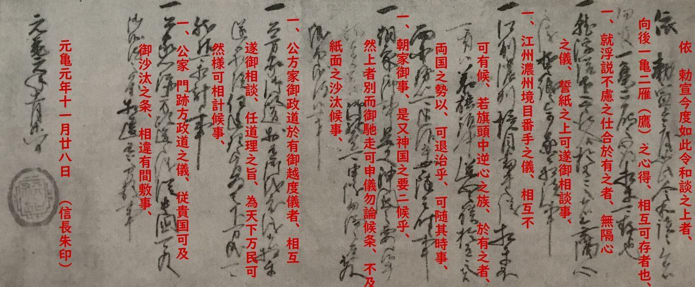 織田信長が志賀の陣で和睦の際に浅井長政へ宛てた書状に釈文をプラス