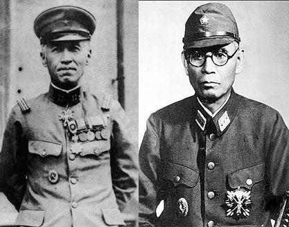 小畑敏四郎(左)と岡村寧次(右)
