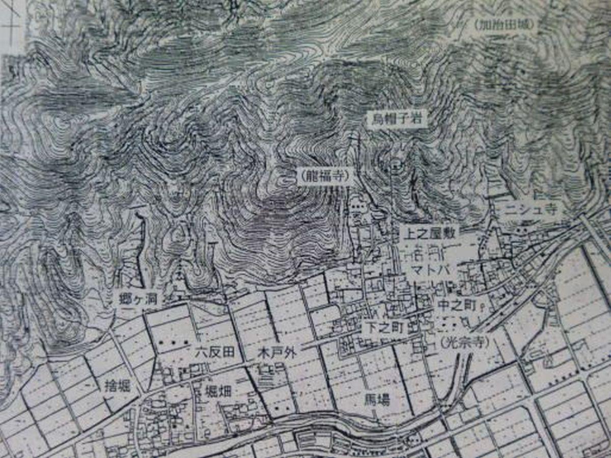 加治田城の周辺図