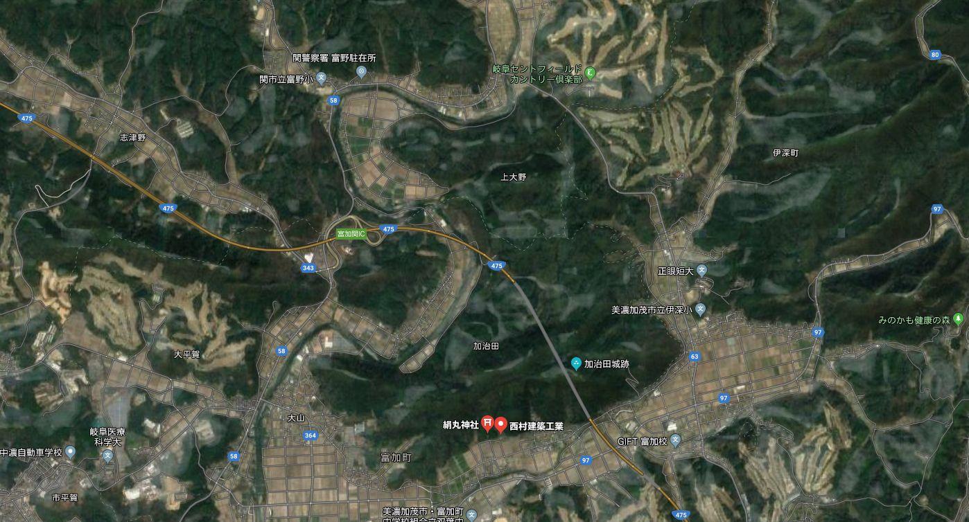 現在の加治田城周辺図01