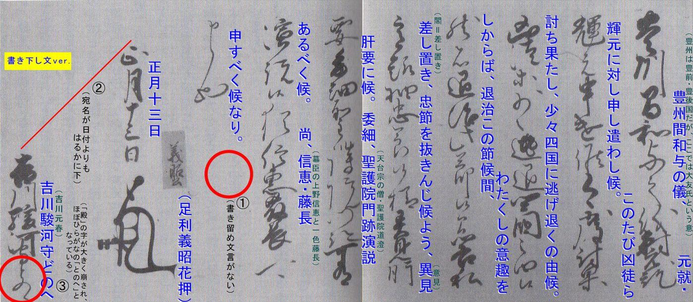 永禄十三年一月十三日付足利義昭書状(吉川元春宛)+解読のポイント