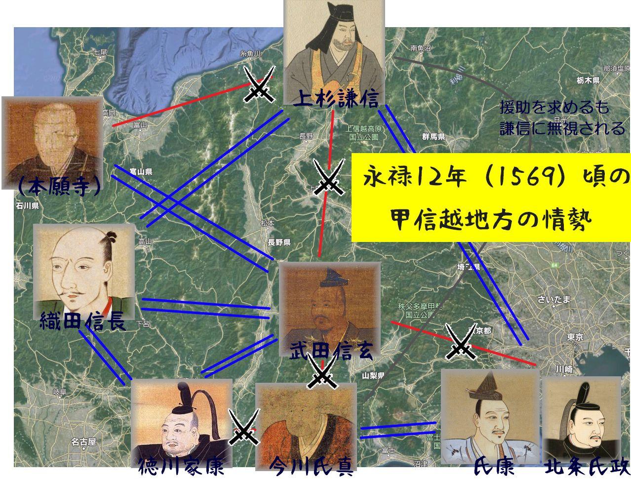 永禄12年(1569)頃の関東甲信越地方の外交情勢