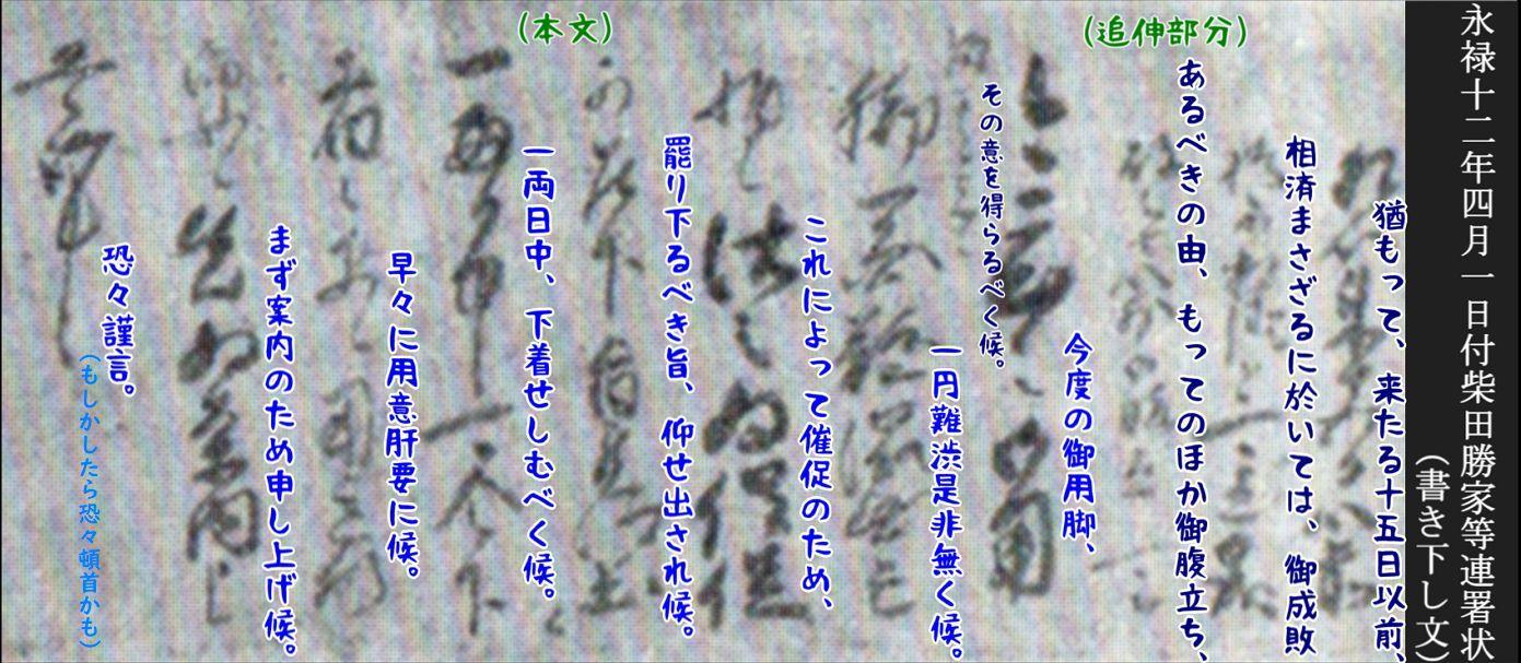 柴田勝家らが堺の町に出した脅迫状 書き下し文a