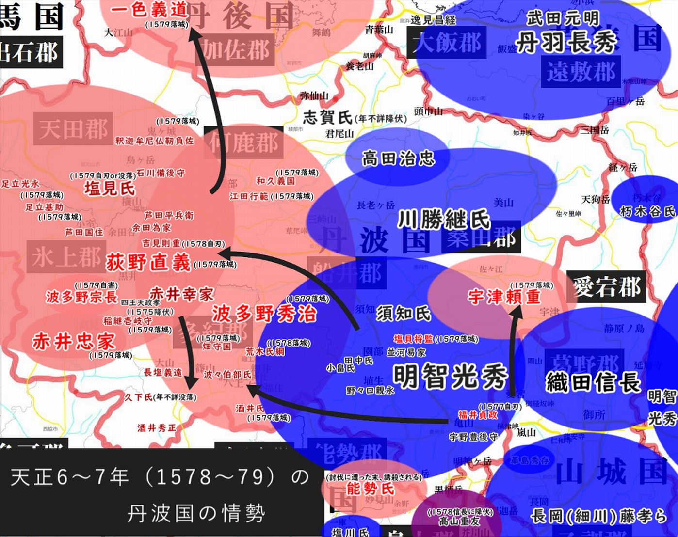 丹波国勢力図1578~79
