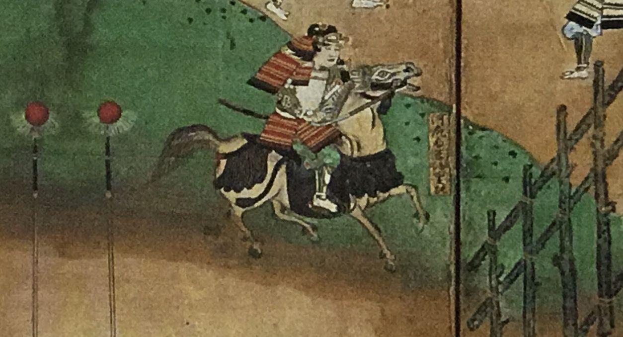 長篠合戦図屏風の河尻秀隆(徳川美術館蔵)