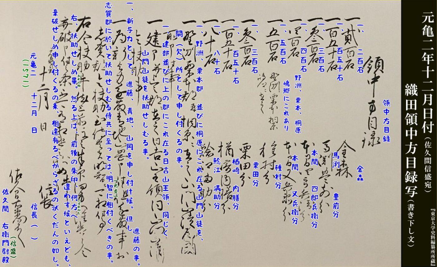 元亀二年十二月日付け領中方目録写(書き下し文)