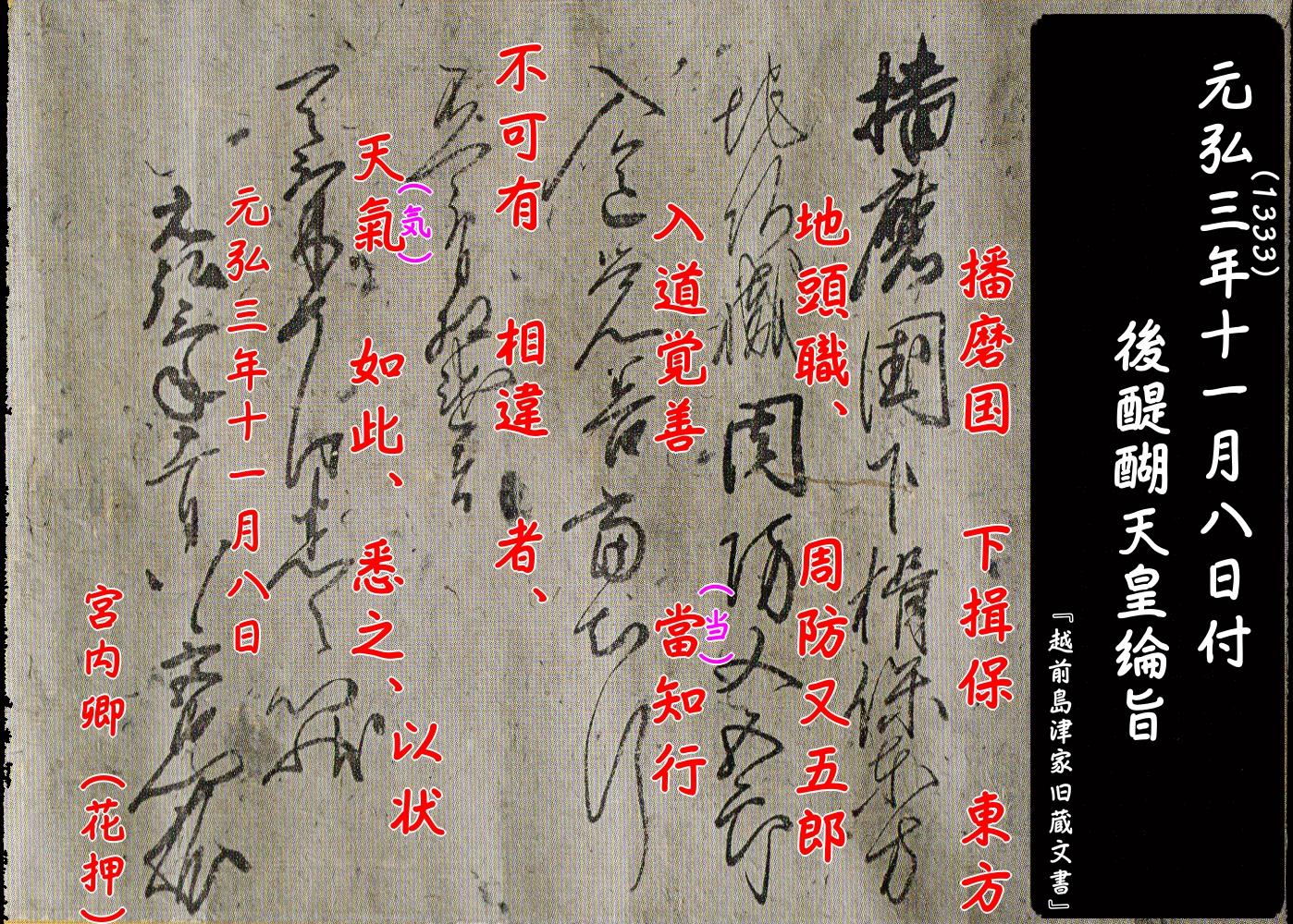 『越前島津家旧蔵文書(後醍醐天皇綸旨)』釈文(元弘3年(1333)11月8日付)